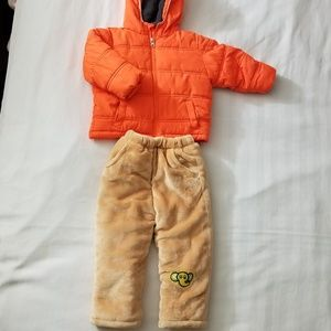 Kids Hooded Puffer Jacket and Warm Pants